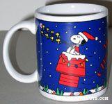 Santa Snoopy on doghouse sleigh pulled by reindeer Woodstocks Mug