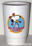 Snoopy hugging Woodstock 'Gee, Somebody Cares' Cup