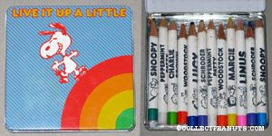 Snoopy Skating on Rainbow Tin Colored Pencil Case