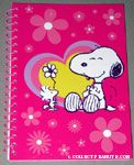 Woodstock giving Snoopy a Flower Spiral Notebook