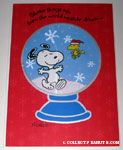 Snoopy & Woodstock dancing in snowglobe Christmas Card
