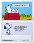Snoopy laying on doghouse 'Thinking of you is the next best thing to being with you.' Wallet Greeting Card