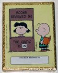 Lucy Book Review Booth with Charlie Brown reading Book Plates