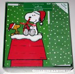 Snoopy & Woodstock with gift on doghouse Box of Cards