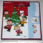 Peanuts Gang dancing around Christmas Tree Box of Cards