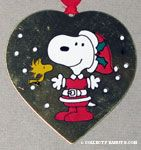 Santa Snoopy and Woodstock Heart-shaped Painted Ornament