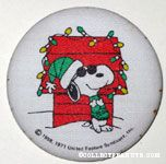 Joe Cool leaning against Doghouse with Christmas Lights Fabric-covered Button
