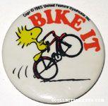Woodstock on bike 'Bike it!' Fabric-covered Button