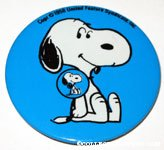 Snoopy wearing a button