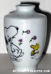 Snoopy & Woodstock dancing with flowers small Vase