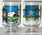 Snoopy and Woodstocks exercising 'We superstars stay in shape' Glass Vase