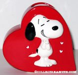 Snoopy on Heart Shaped Planter