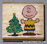 Charlie Brown with Christmas tree Rubber Stamp