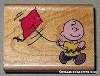 Charlie Brown flying kite Rubber Stamp