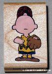 Charlie Brown looking up wearing baseball uniform Rubber Stamp