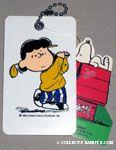 Lucy golfing golf bag tag