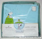 Snoopy & Woodstock on doghouse in the rain Stationery