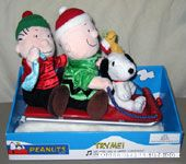 Animated Linus, Charlie Brown & Snoopy on Sled Plush