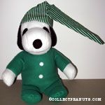 Snoopy wearing green pjs Plush