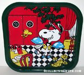 Waiter Snoopy rollerskating through restaurant Metal Tray