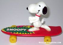 Snoopy dancing on red skateboard