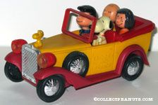 Snoopy, Lucy, Charlie Brown and Peppermint Patty in Family Car