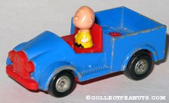 Charlie Brown in Blue and Red Car