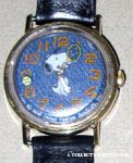 Snoopy playing tennis with denim band & black face Watch
