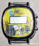 Snoopy & Woodstocks drinking from mugs by barrel Watch