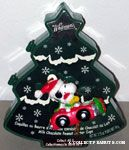 Snoopy & Woodstock wearing stocking caps in Red Convertible Ornament & Chocolate Box