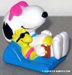 Joe Cool & Woodstock laying on pool float PVC Figurine