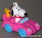 Snoopy & Woodstock in pink convertible Valentine's Keychain