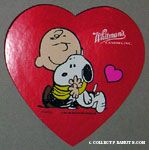Charlie Brown hugging Snoopy Valentine's Heart-shaped Candy Box