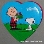 Charlie Brown feeding Snoopy Valentine's Heart-shaped Candy Box