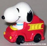 Snoopy in firetruck PVC Figurine