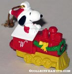 Santa Snoopy on Red Train Ornament
