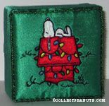 Snoopy on Christmas lighted doghouse embroidered cloth covered box