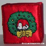 Snoopy in wreath embroidered cloth covered box