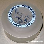 Snoopy with ears in air and Woodstock laughing Frosted Glass Candy Pot