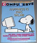 Compuserve Magazine with 'Happiness is Kids Online' featuring Snoopy