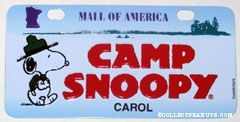 Mall of America Knott's Camp Snoopy Souvenir License Plate