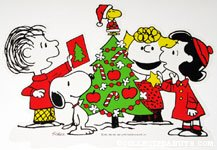Peanuts Gang around tree Christmas Press-out