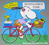 Snoopy riding bike with Woodstocks Press-out