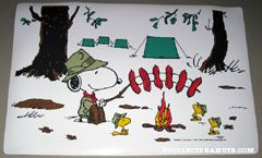 Snoopy & Woodstocks camping out with fire Placemat