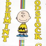Peanuts Gang standing with stripes and vertical names Wallpaper
