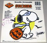 Masked Snoopy with Halloween Pumpkin Static Stick-on Window Cling