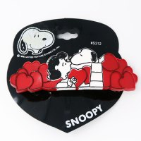 Snoopy kissing Lucy with red hearts Hair Clip