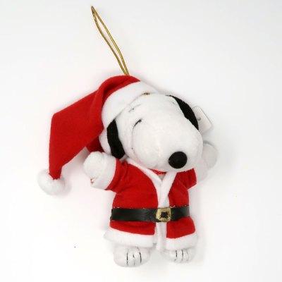 Santa Snoopy Plush Christmas Ornament