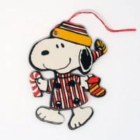 Snoopy Wearing Striped Pajamas Jointed Ornament