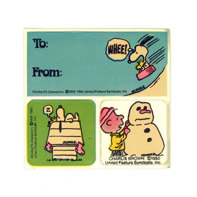 Snoopy, Woodstock and Charlie Brown Stickers & Gift Tag